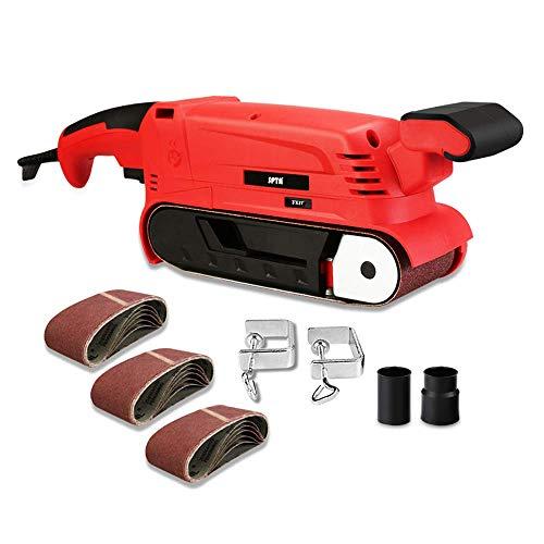 SPTA Lijadora 900 W, 75 mm, lijadora con 15 unidades de papel de lija (75 x 457 mm), lijadora de 6 velocidades (360-560RPM) con 2 adaptadores de aspiradora y 2 abrazaderas de tornillo