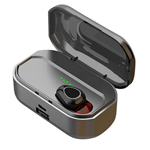 Wsaman Auriculares con cancelación de Ruido Auriculares Auricular Inalámbricos Bluetooth 5.0 con 3500mAh Caja de Carga,para Trabajo y Deportes Viaje, Auriculares In-Ear,Negro