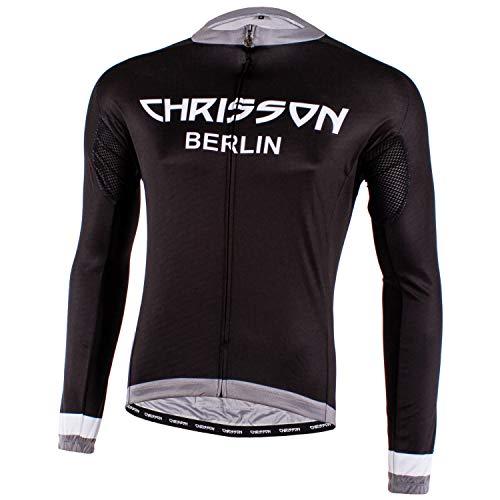 CHRISSON Essential XL Grau Fahrradtrikot Langarm für Herren, Atmungsaktive und Schnelltrocknende Fahrradbekleidung, Radtrikot mit Reißverschluss, Fahrrad Trikot für Männer mit 3 großen Rückentaschen