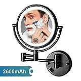 Espejo de maquillaje montado en la pared de 8 'con luces LED 10x Aumento Espejo de vanidad de maquillaje de pared de doble cara con botón de encendido / apagado, alimentado por USB recargable, negro