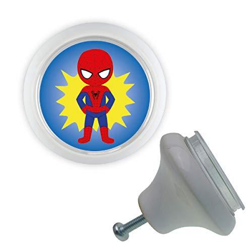 Keramik Möbelknopf 00031MKAPW Weiß Superhelden 07 Spiderman Motiv für Schrank, Schublade, Kommode, wechselbares Motiv, XpressGuru DIY Möbelknopf - Made in Germany