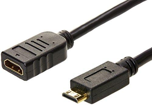 Amazon Basics - Cable adaptador convertidor de Mini HDMI macho a HDMI hembra - 15 cm, Pack de 1