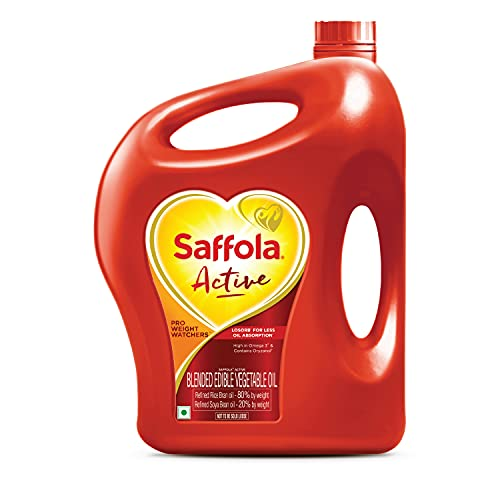 Saffola Active Refined Cooking oil | Blended Rice Bran & SoyaBean oil | Pro Weight Watchers | 5 Litre jar