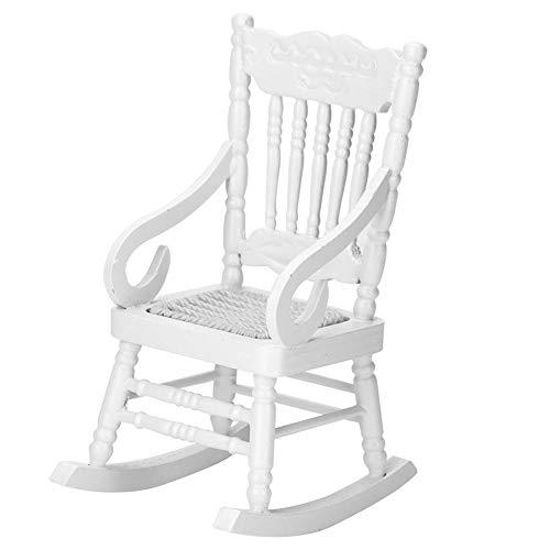 Fdit Silla Mecedora en Miniatura para Casa de Muñecas Mini Muebles de Madera Asiento de Cuerda Ideal Modelo de Decoración 2 Colores Opcionales 1:12(Blanco)