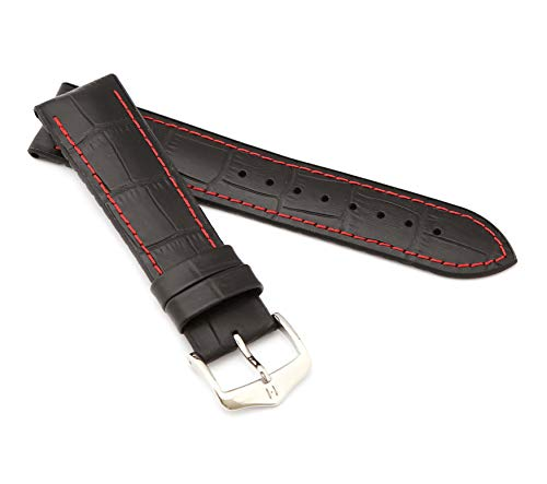 HIRSCH Herren Performance Uhrenarmband Modell George 22 mm Schwarz/rot