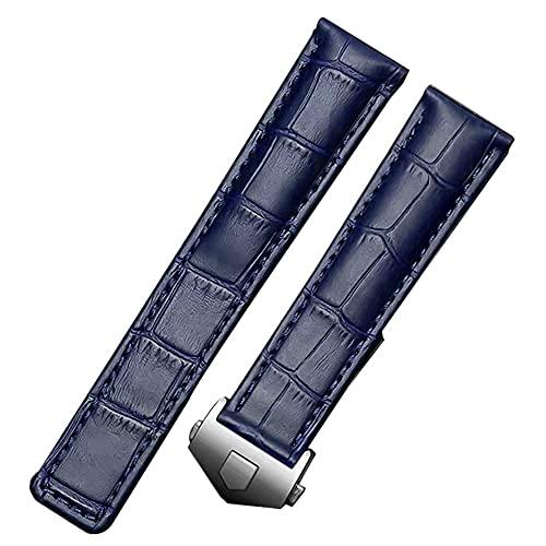 FOUUA Correa de Reloj Correa de Reloj de Cuero Genuino Estilo cocodrilo marrón Negro con Costuras Azules para Adaptarse a los Modelos Tag Heuer Monaco y Targa Florio 19mm 20mm 22mm