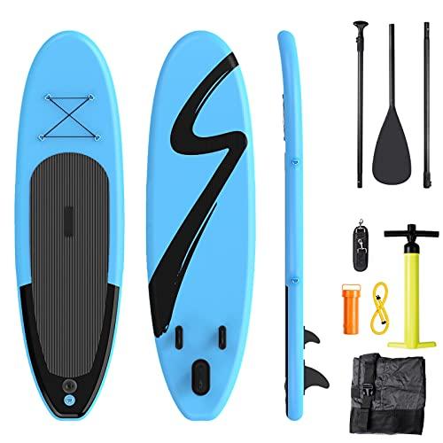 Tabla Paddle Surf Hinchable, Tabla de Paddle Surf Hinchable, 305 X 76 X 15 cm,Paddle Surf Hinchable, 15cm de Grosor, Incluida Mochila, Antideslizante, Accesorios, Bomba, para Todos los Niveles,Azul