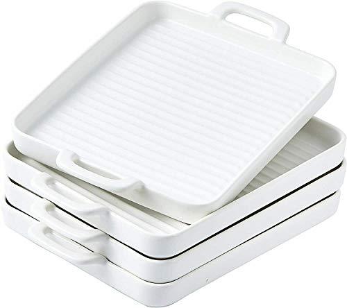 Ceramic Square Baking Dish Grill Pan Dinner Plates 10″x7 Set of 4 White Baking supplies Baking set Bakeware sets Kitchen essentials Baking pans set Baking tools Cake Kitchen supplies