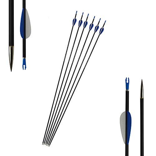SHARROW 12 Flechas de Carbono Mixtas de 32 Pulgadas Columna Vertebral 1200 Flechas de Carbono para Tiro con Arco Flechas de Caza Flechas de Carbono para Caza con Arco Compuesto y recurvo (6 PC