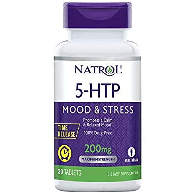 Natrol 5-HTP Time Release tablets, Promotes a Calm Relaxed Mood, Helps Maintain a Positive Outlook, Enables Production of Serotonin, Drug-Free, Controlled Release