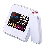 Fenteer LED Projeion目覚まし時計温度デスク時刻日付Projeor USB充電器 - 白い