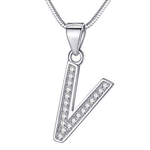 Morella Damen Buchstabenhalskette Halskette und Anhänger Buchstabe V aus 925 Silber rhodiniert 45 cm lang