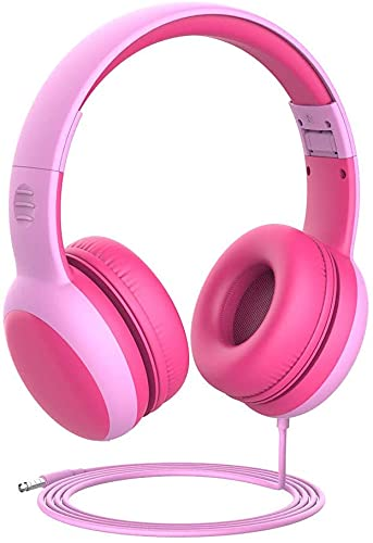 Gorsun Auriculares para niños, Volumen Limitado en el oído Auriculares para niños con Conector de Audio de 3.5 mm para niñas y niños, Auriculares con Cable Ajustable y Plegable (Rosado)