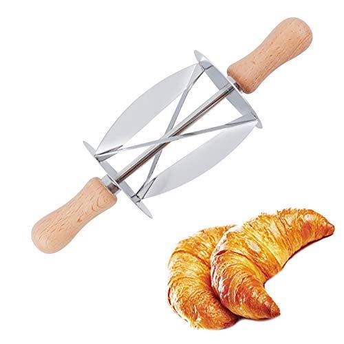 Croissant Cutter Rollenschneider aus Edelstahl mit Holzgriff für Croissant hausgemachte