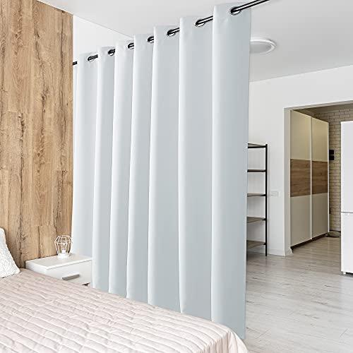 PONY DANCE Raumteiler Vorhang Grau-weiß - 1 Stück H 210 x B 254 cm Schiebegardinen für Wohnzimmer & Schlafzimmer & Büro Trennwand Vorhang Sichtschutz Ösenschal
