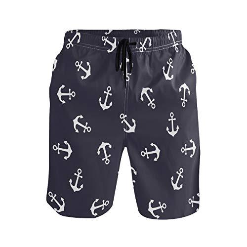 Hunihuni Herren Strand Shorts Nautische Anker Muster Drawsting Badehose Badeanzug Bademode Netzfutter mit Tasche Gr. XL, Mehrfarbig