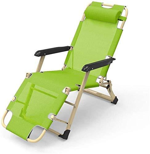 WJXBoos Silla reclinable de jardín Cama de Playa Sillas reclinables Sillas de Patio de Gravedad Cero Silla Plegable de Exterior con cojín extraíble 200 kg (Color: Verde)