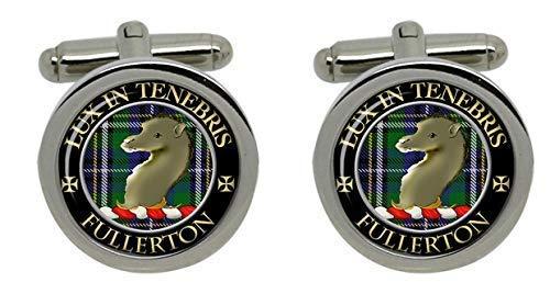 Fullerton Clan écossais pour homme Écusson Chrome Boutons de manchette avec coffret cadeau