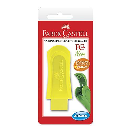 Apontador com Depósito e Borracha, Faber-Castell, Fc Mix Neon, SM/124BORSZF, Cores Sortidas