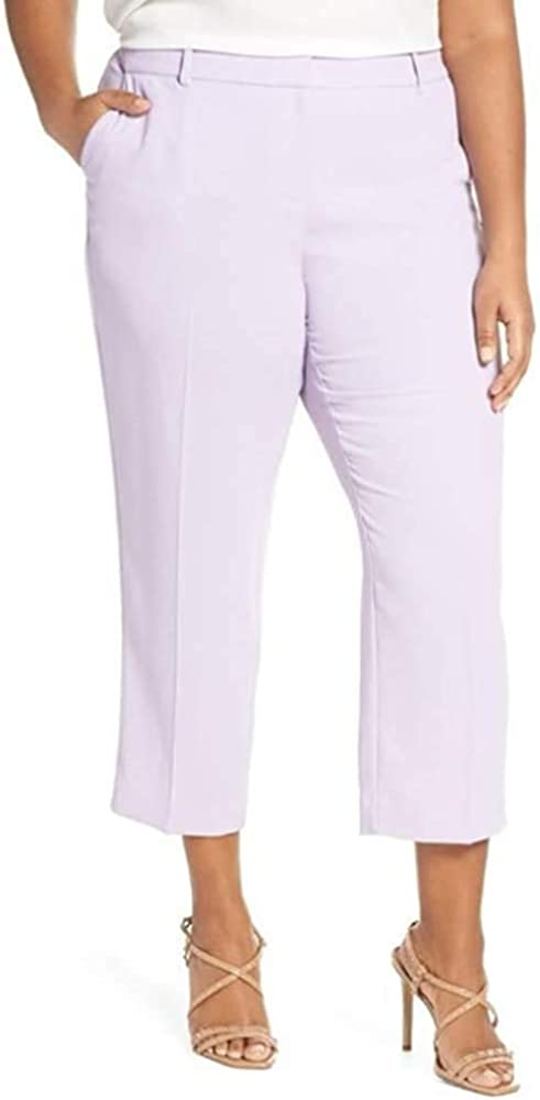 Vince Camuto Womens Plus Crepe Lightweight Straight Leg Pants Purple