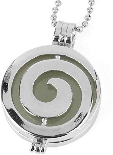 NONGYEYH co.,ltd Collares Pendientes de Piedra para Mujer Piedra Natural Forma de Espiral Aromaterapia Difusor de Aceite Esencial Aventurina Collar Colgante con Cadena de Plata Joyería Mujeres