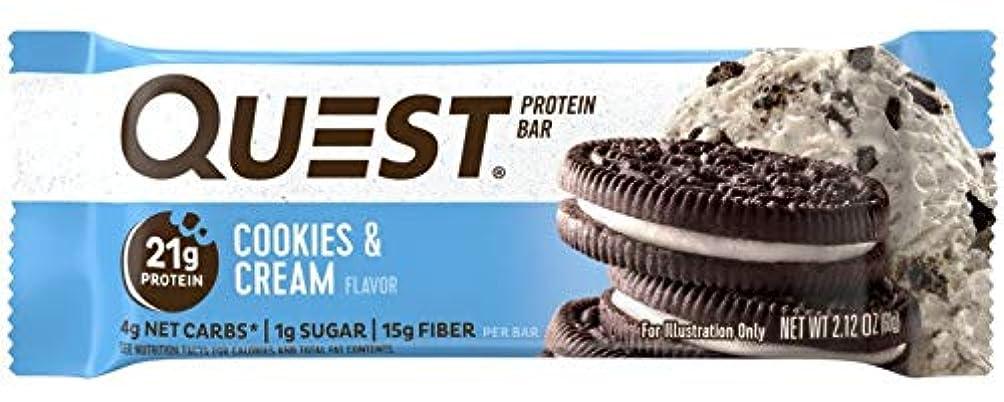机余韻暴動Quest Nutrition(クエストニュートリション)プロテインバー クッキー&クリーム プロテイン21g配合 60g(2.12oz) 12本入 [海外直送品]