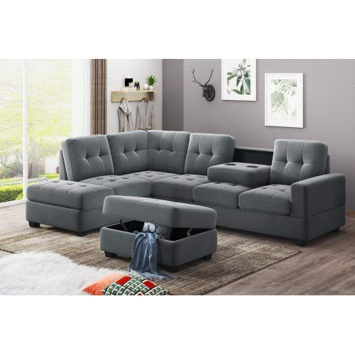 STARTOGOO 3 Piece Sectional Sofa with Reversible Chaise Lounge Storage Ottoman and Cup Holders, Graphite Grey (Microfiber)