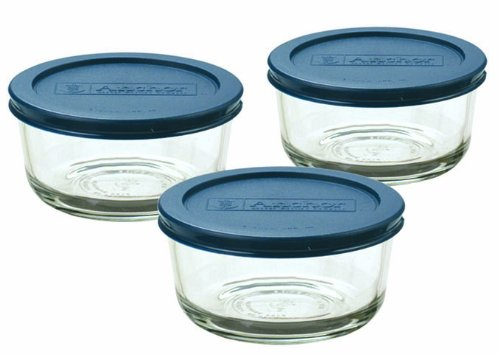 Anchor Hocking Classic Glass Food Storage Containers with Lids, Blue, 2 Cup (Set of 3)