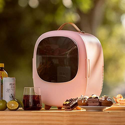 Yucong Mini Nevera Pequeña Portátil 12 V/220 V para Coche y Casa 6L Funciones Enfriar y Calentar Frigorifico Pequeño [Clase de eficiencia energética A++] (rosa)