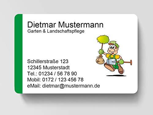 100 Visitenkarten, laminiert, 85 x 55 mm, inkl. Kartenspender - Garten Landschaftspflege