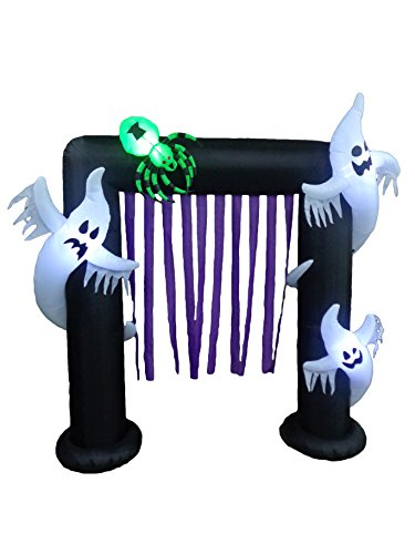 BZB Goods 8 Foot Tall Halloween Inflatable Ghosts Spider Archway Arch LED Lights Outdoor Indoor Holiday Decorations, Giant Lawn Party Home Family Blowup Lighted Yard Decor