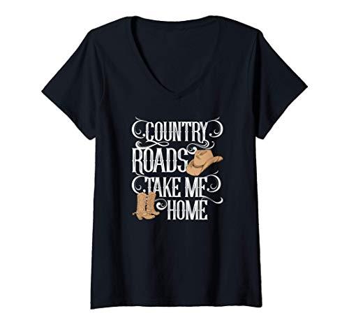 Mujer Country Roads Take Me Home Cute Music Lyrics Camiseta Cuello V