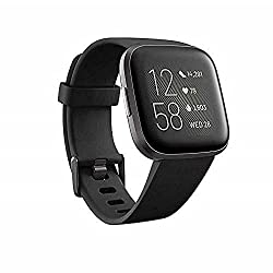 Fitbit FB507BKBK Versa 2 Health & Fitness Smartwatch with Heart Rate, Music, Alexa Built-in, Sleep & Swim Tracking, Black/Carbon, One Size (S & L Bands Included) (Black/Carbon),Fitbit,FB507BKBK