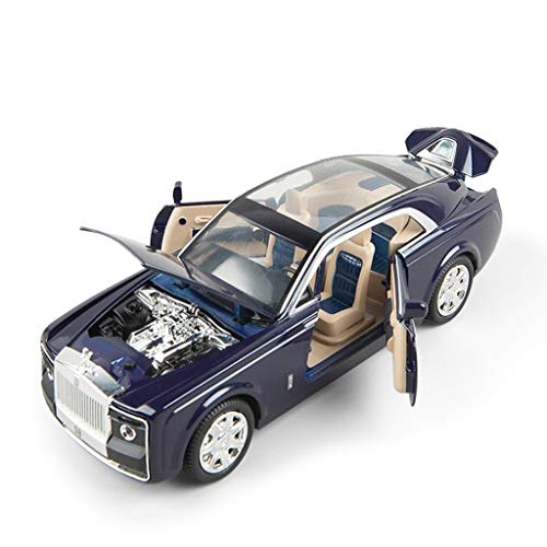 Car Model Scale 1:24 / Compatible with Rolls Royce/Luxurious Carriage Style Door Opening Sound Light Pull Back Function Realistic Engine Vehicle Model (Color : Blue)