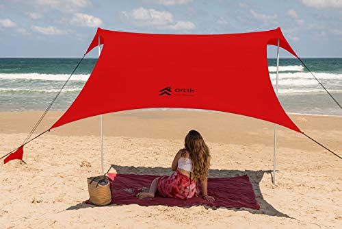Pop Up Beach Tent Sun Shade for Camping Trips, Fishing, Backyard Fun or Picnics – Portable Canopy with Sandbag Anchors, Two Aluminum Poles & Carrying Bag - UPF50 UV Protection (Red, Large)