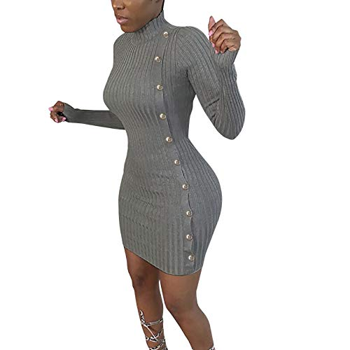 YANFANG Vestido de Punto de nalga de Manga Larga de Color sólido Delgado de Moda para Mujer Cierre la Cintura térmica