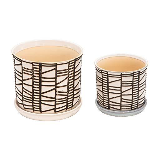 Set mit 2 Keramik-Pflanzgefäßen mit Untersetzer, 15,2 cm, Beige