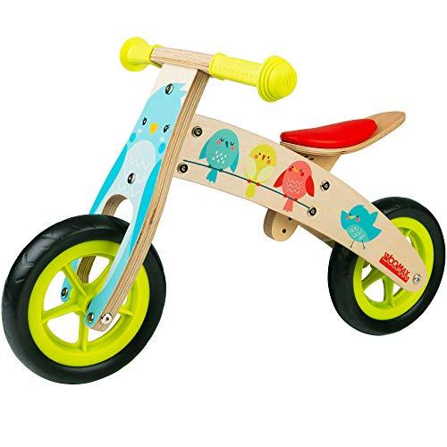 WOOMAX - Bici sin pedales madera, 74x35x45 cm, asiento regulable, diseño de pajaritos, bicicleta para niñas de 2 a 5 años, bicis iniciación, juguetes de madera, 25 Kg (85375)