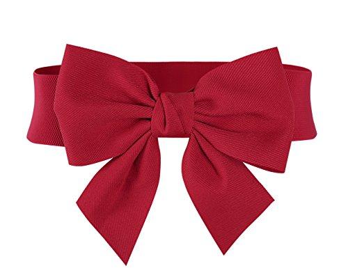 MUXXN Red Bow Belt for Womne Adjustable Hgih Stretch Cotton Belt (Red S)