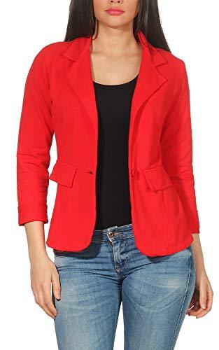 Malito Donna Classico Blazer Basic-Look Jersey Giacca 1654 (Rosso, S)