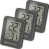Bresser Thermometer Hygrometer Temeo Hygro Indicator 3er-Set zum Aufstellen oder zur Wandmontage mit Raumklima-Indikator, Grau