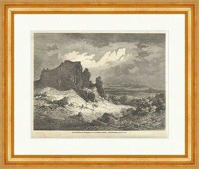 Kunstdruck Die Felsenhöhle bei Muggendorf fränk. Schweiz A. Geist Holzstich E 11599 Gerahmt