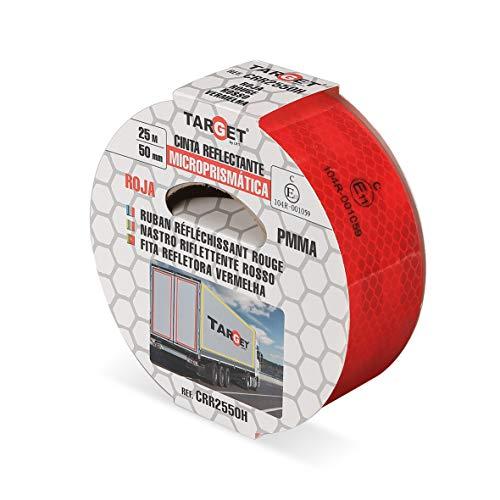 Cinta Reflectante - Homologada - TARGET - Roja 25 m x 50 mm - Camión - Certificación Norma EC 104 - Adhesiva - Señalización - Marcar - CRR2550H