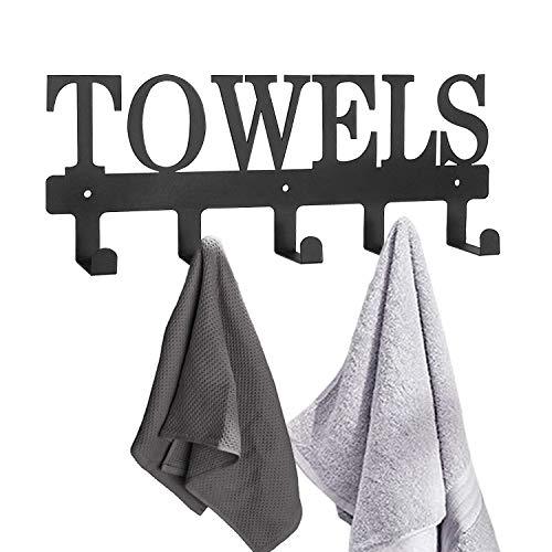 Mincord - Toallero de pared de metal negro con 5 ganchos para organizar la cocina, toallas de baño