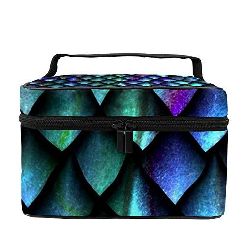Make-up-Tasche für Damen, Kosmetikkoffer, Organizer, Meerjungfrauen-Schuppen, multifunktional, tragbar, Aufbewahrungstasche für Pinsel, Toilettenartikel, Schmuck