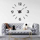 DIY CLOCK Reloj de pared, adhesivos murales, reloj de pared grande, reloj de pared, decoración del hogar, cocina, EVA impermeable de alta calidad, 60 cm (negro)