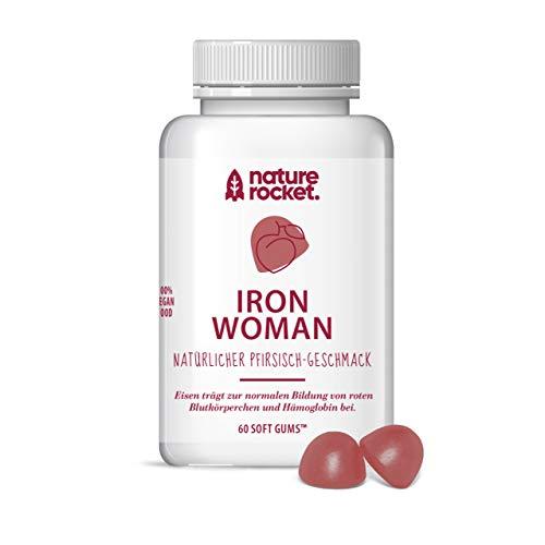 IRON WOMAN | Vegane Eisen Softgums für Frauen | Natürlicher Pfirsich Geschmack | Made in Germany | 60 St. Monatspackung