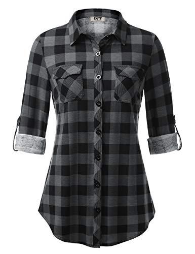 DJT Button Down Shirts for Women,Long-Sleeve Plaid Shirt Small Black Plaid