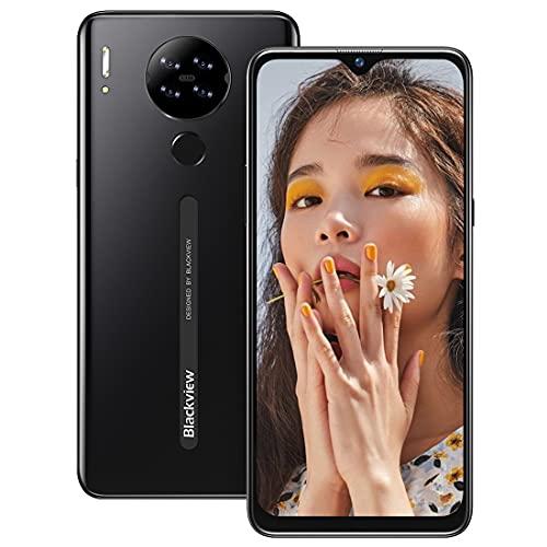 Smartphone Libre 4G, Blackview A80 6.21' HD+ Pantalla con Cámara Cuádruple 13MP, 16GB ROM, 128GB SD Batería 4200mAh Android 10 GO Teléfono Móvil Barato Dual SIM - Huella Digital/Face ID/GPS/FM (Negro)