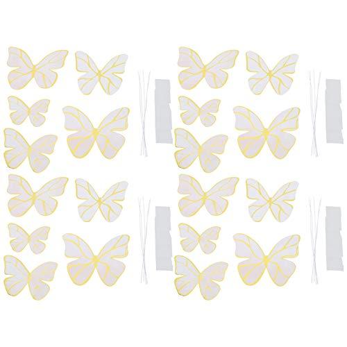 20 piezas de calcomanías de pared de mariposa, mariposas beige pegatinas de pared decoraciones fiesta hogar arte decoración artesanía
